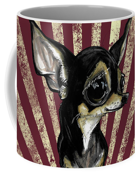 Chihuahua Coffee Mug featuring the drawing Chihuahua Revolution by John LaFree