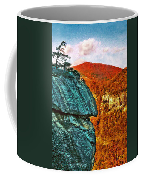 Landscape Coffee Mug featuring the painting Chimney Rock by Steve Karol