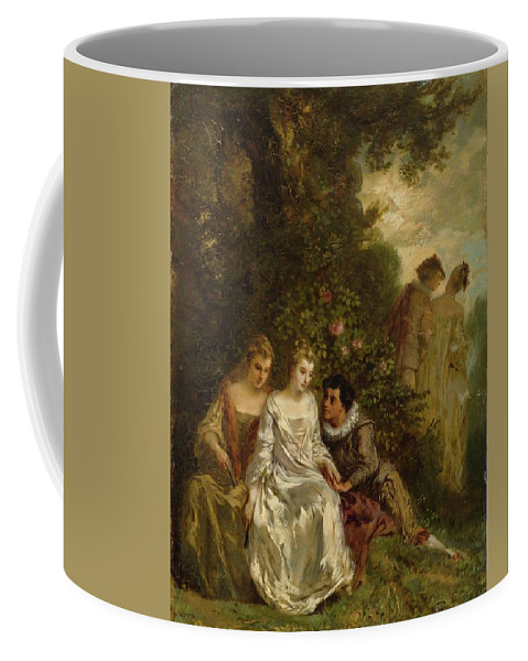 Menn Coffee Mug featuring the painting Chivalric Scene In A Park by MotionAge Designs