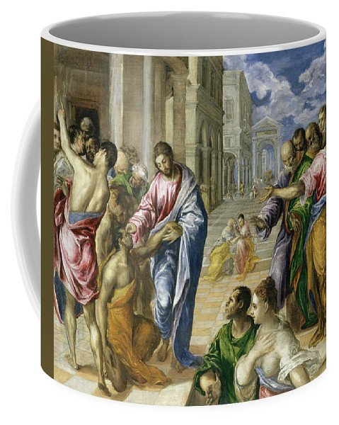 Bartimaeus Coffee Mug featuring the painting Christ Healing The Blind by El Greco