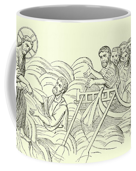 Christ Coffee Mug featuring the drawing Christ Walking On The Water by English School