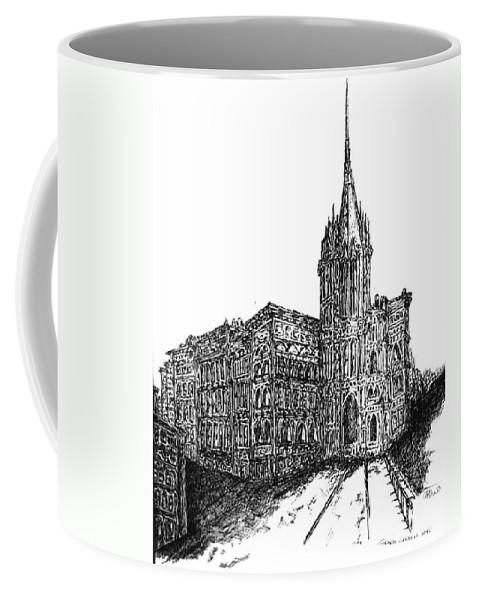 Grace Church Coffee Mug featuring the drawing Church by Pamela Canzano