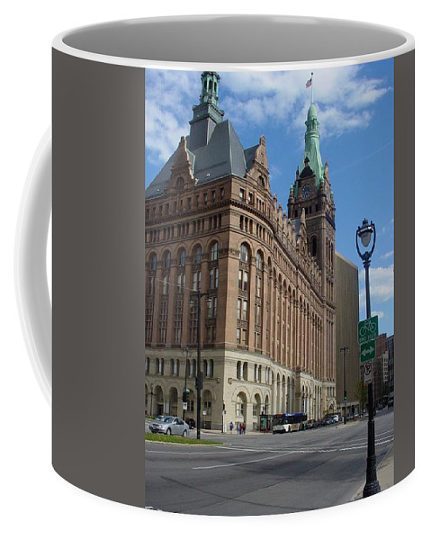 Milwaukee Coffee Mug featuring the photograph City Hall And Lamp Post by Anita Burgermeister