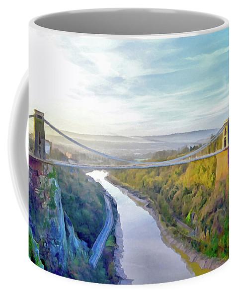 Clifton Suspension Bridge Coffee Mug featuring the digital art Clifton Suspension Bridge 1 by Bishopston Fine Art