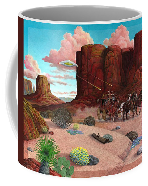 Cowboys Coffee Mug featuring the painting Close Encounter by Snake Jagger