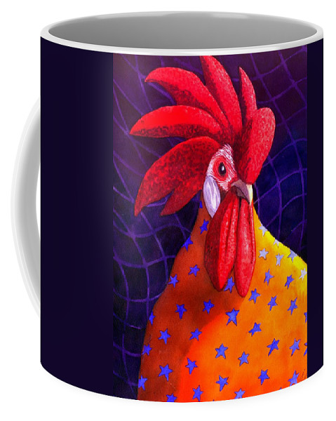 Rooster Coffee Mug featuring the painting Cock A Doodle Dude by Catherine G McElroy