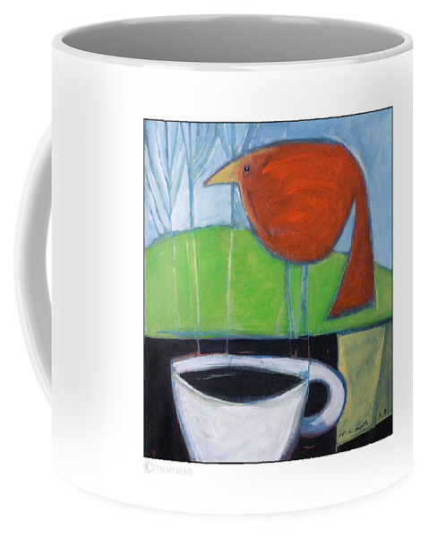 Bird Coffee Mug featuring the painting Coffee With Red Bird by Tim Nyberg