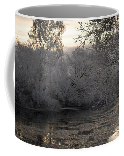 Winter Coffee Mug featuring the photograph Cold River Flow by Angel Ciesniarska