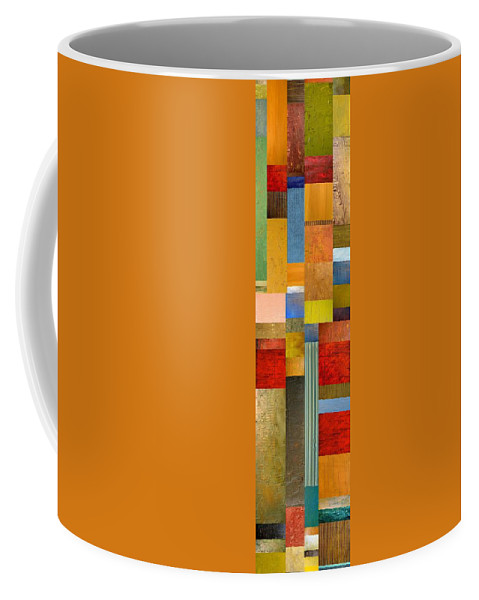 Skinny Coffee Mug featuring the painting Color Panels With Green Grass by Michelle Calkins