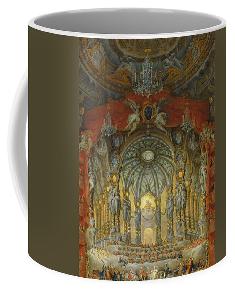 Pannini Coffee Mug featuring the painting Concert Given By Cardinal De La Rochefoucauld At The Argentina Theatre In Rome by Giovanni Paolo Pannini or Panini