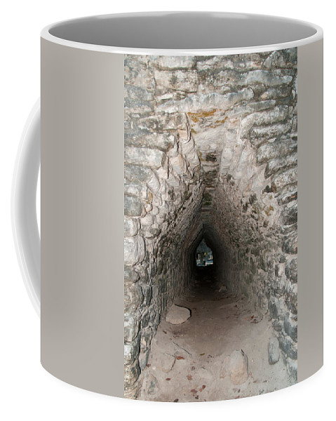 Mexico Quintana Roo Coffee Mug featuring the digital art Corbeled Vault Passages In Grupo Coba At The Coba Ruins by Carol Ailles