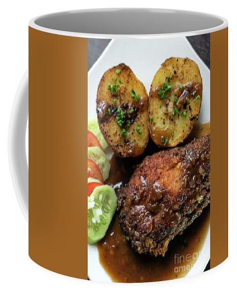 Bleu Coffee Mug featuring the photograph Cordon Bleu Breaded Fried Chicken Gravy And Potatoes Meal by Jacek Malipan