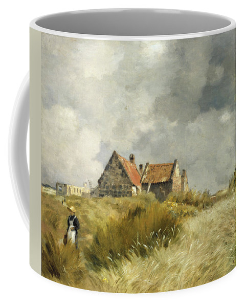 Jean-charles Cazin Coffee Mug featuring the painting Cottage In The Dunes by Jean-Charles Cazin