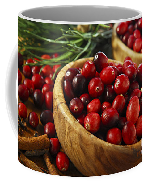 Cranberry Coffee Mug featuring the photograph Cranberries In Bowls by Elena Elisseeva