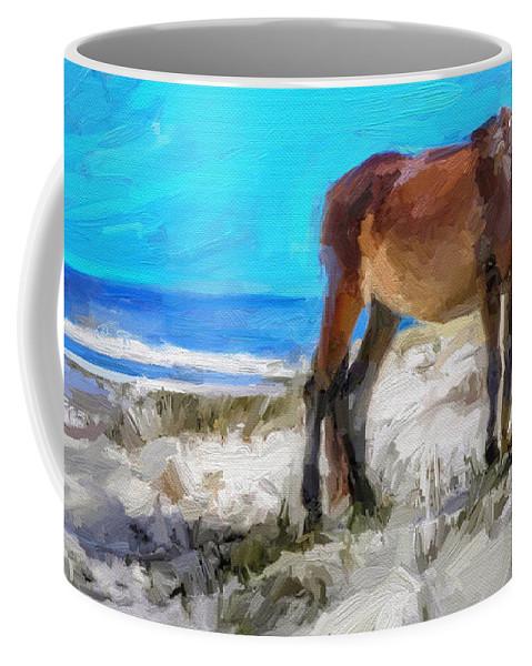 Cumberland Island Pony Horse Coffee Mug featuring the digital art Cumberland Pony by Scott Waters