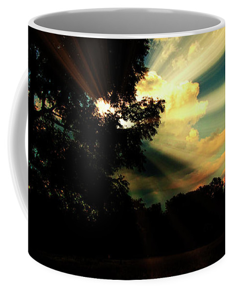 Cumulus Cloud Coffee Mug featuring the photograph Cumulus Cloud At Dusk, Tree Silhouettes by A Gurmankin