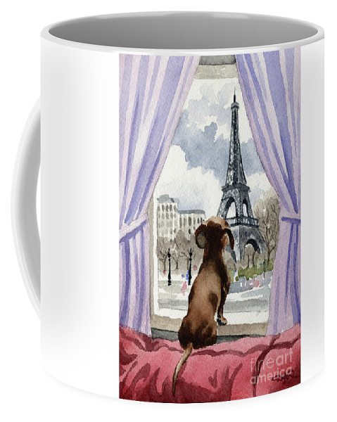 Dachshund Coffee Mug featuring the painting Dachshund In Paris by David Rogers