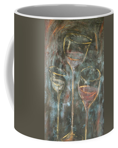Abstracticle Still Life Coffee Mug featuring the painting Dancing Glasses by Chuck Gebhardt