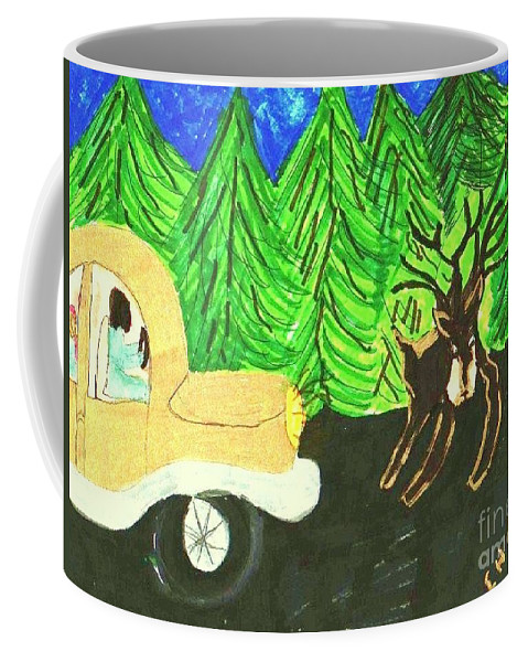 A Deer Crossing In Front Of A Car Coffee Mug featuring the mixed media Deer Crossing by Elinor Helen Rakowski