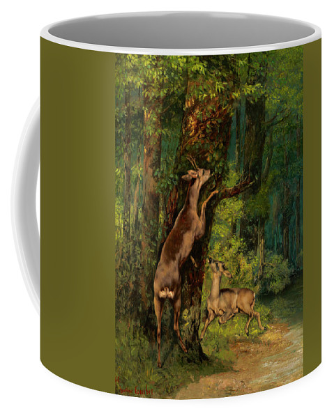 Deer In The Forest Coffee Mug featuring the painting Deer In The Forest, 1868 by Gustave Courbet