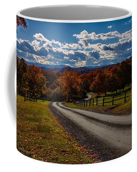 #jefffolger Coffee Mug featuring the photograph Dirt Road Through Vermont Fall Foliage by Jeff Folger