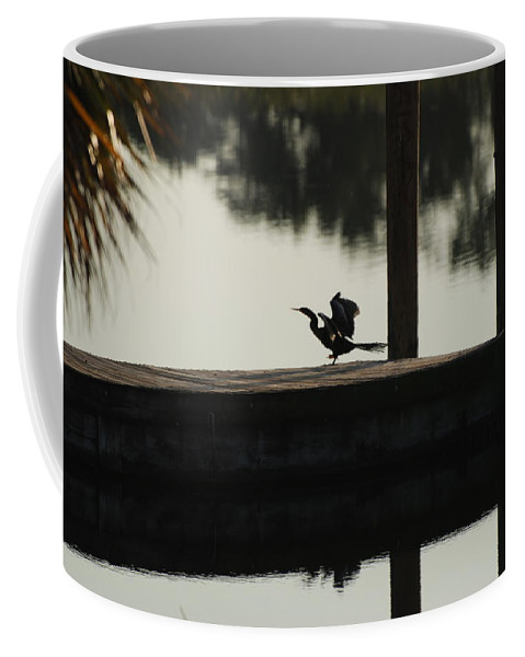 Reflections Coffee Mug featuring the photograph Dock Bird by Rob Hans