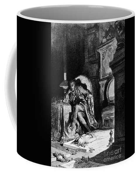 1882 Coffee Mug featuring the drawing The Raven by Gustave Dore