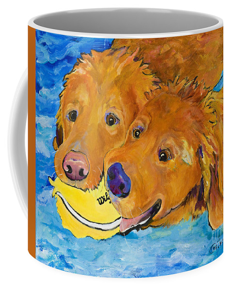 Golden Retriever Coffee Mug featuring the painting Double Your Pleasure by Pat Saunders-White