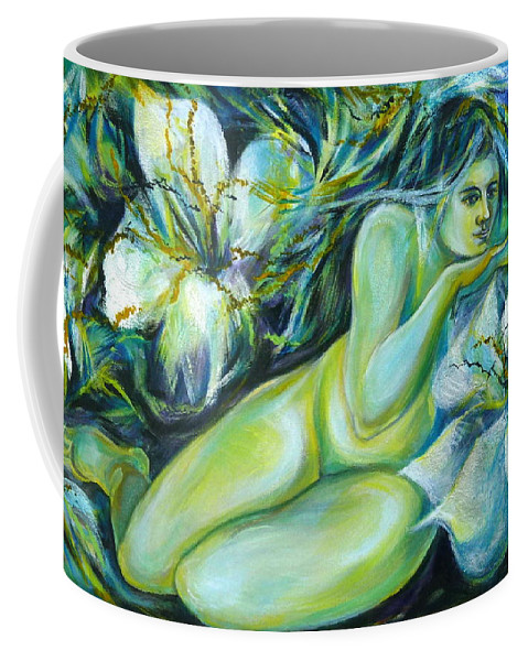 Fantasy Art Coffee Mug featuring the painting Dreaming Flower by Anna Duyunova