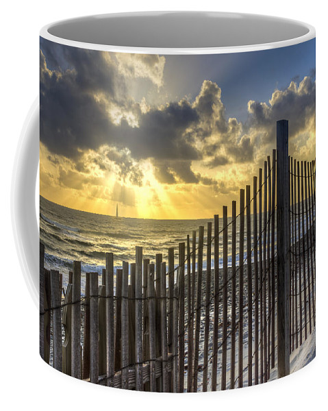Atlantic Coffee Mug featuring the photograph Dune Fence by Debra and Dave Vanderlaan