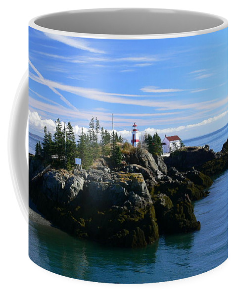 Clouds Coffee Mug featuring the photograph East Quoddy Lighthouse by Nancie DeMellia