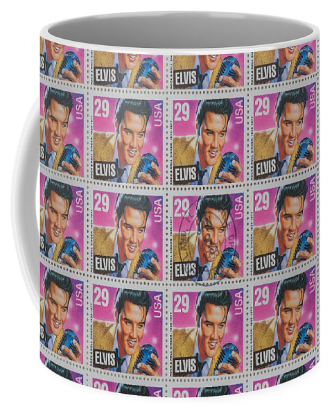 Elvis Stamp Coffee Mug featuring the photograph Elvis Commemorative Stamp January 8th 1993 Painted by Rich Franco