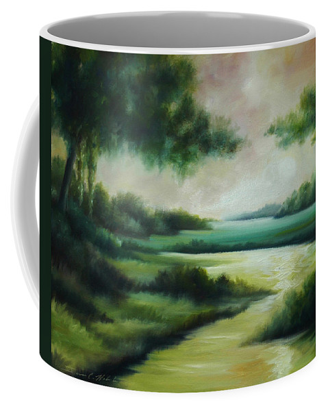 Bright Clouds; Sunsets; Reflections; Ocean; Water; Purple; Orange; Storms; Lightning; Contemporary; Abstract; Realism; James Christopher Hill; James Hill Studios; James C. Hilll; Forest; Flowers; Trees; Green; River; Water Coffee Mug featuring the painting Emerald Forest by James Christopher Hill