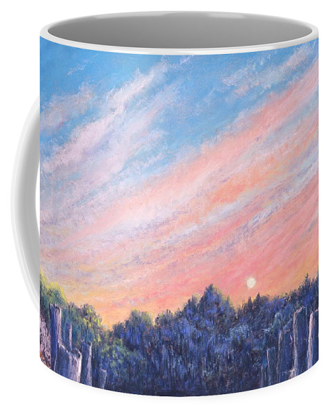 Vibrant Paintings Coffee Mug featuring the painting enchanced Catching the Sunset by Penny Neimiller