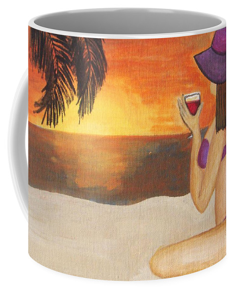 Jamaican Coffee Mug featuring the painting Enjoy The Beach by Vesna Antic