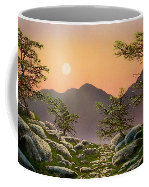 Evening Moonrise Coffee Mug featuring the painting Evening Moonrise by Frank Wilson