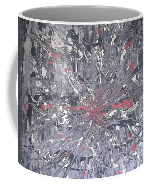Abstract Art Exsplosive Movement Purple Flowing Coffee Mug featuring the painting Explosive by Cliff Weatherspoon