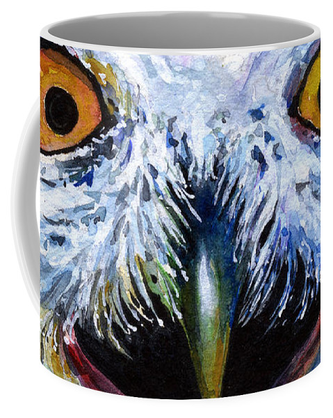 Eye Coffee Mug featuring the painting Eyes Of Owls No. 15 by John D Benson