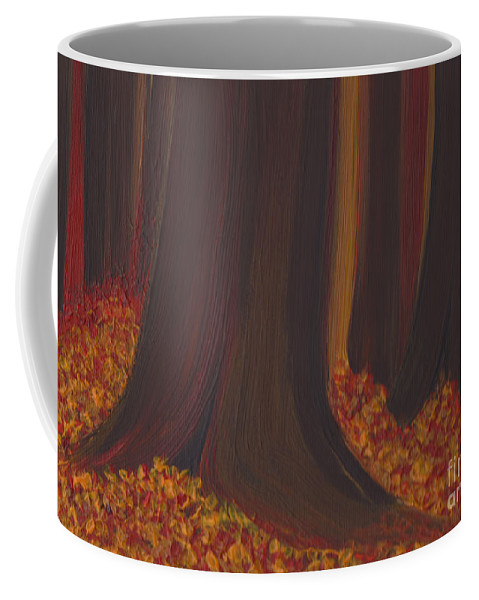 Coffee Mug featuring the painting Fall Forest Floor By Jrr by First Star Art
