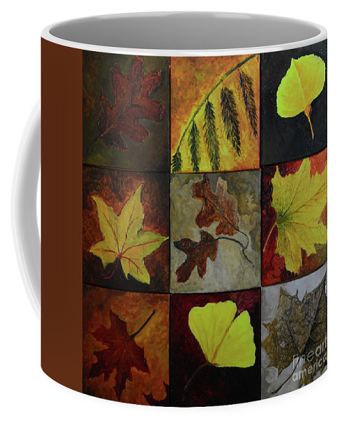 Leaf Coffee Mug featuring the painting Fall Leaves by Charles Owens