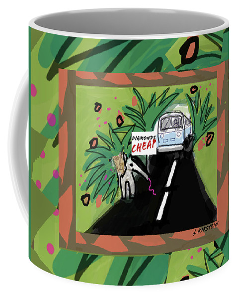 Fantasy Coffee Mug featuring the digital art Fantasy Animals Catch A Bus by Janis Kirstein