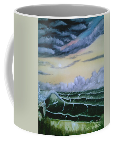 Seascape Coffee Mug featuring the painting Fantasy Seascape by Jim Saltis