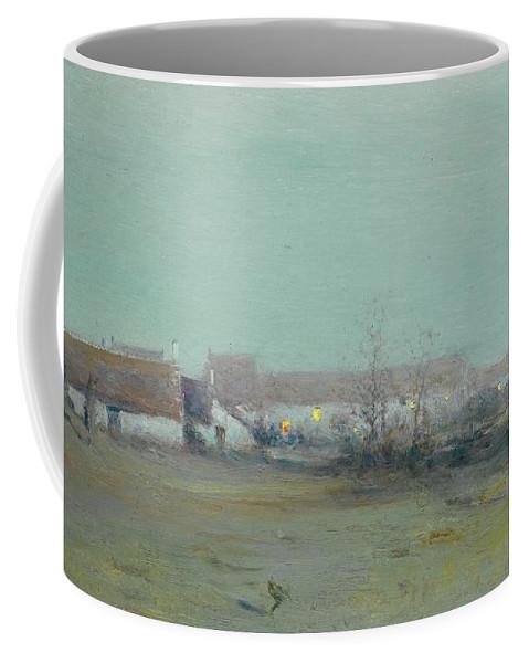 Ivan Pavlovich Pokhitonov 1850-1923 Farm At Dusk Coffee Mug featuring the painting Farm At Dusk by Ivan Pavlovich