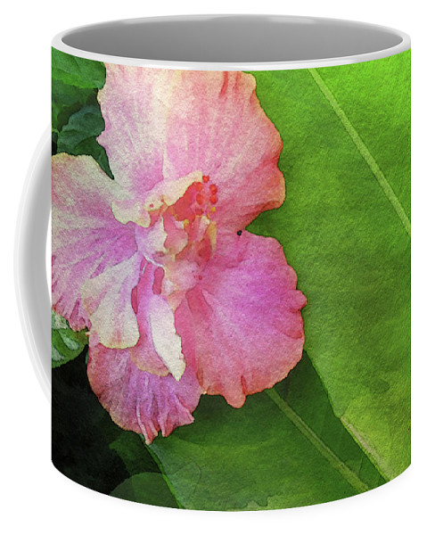 Hibiscus Watercolor Coffee Mug featuring the photograph Favorite Flower Digital Watercolor by James Temple