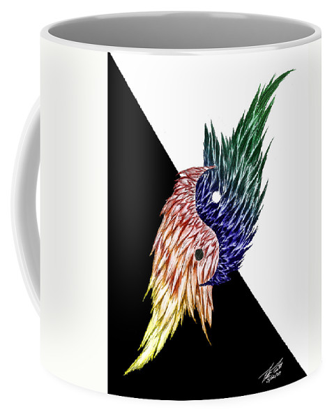 Feathers Coffee Mug featuring the digital art Feathered Ying Yang by Peter Piatt