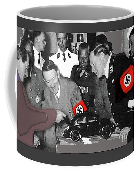 Ferdinand Porsche Showing The Prototype Of The Vw Beetle To Adolf Hitler 1935 Coffee Mug featuring the photograph Ferdinand Porsche Showing The Prototype Of The Vw Beetle To Adolf Hitler 1935-2015 by David Lee Guss