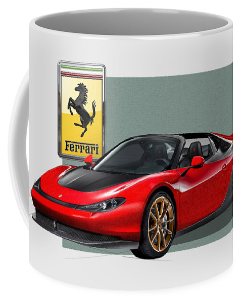 �ferrari� Collection By Serge Averbukh Coffee Mug featuring the photograph Ferrari Sergio With 3d Badge by Serge Averbukh