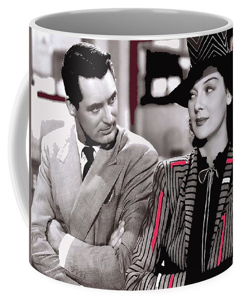 Film Homage Cary Grant Rosalind Russell Howard Hawks His Girl Friday 1940-2008 Coffee Mug featuring the photograph Film Homage Cary Grant Rosalind Russell Howard Hawks His Girl Friday 1940-2008 by David Lee Guss