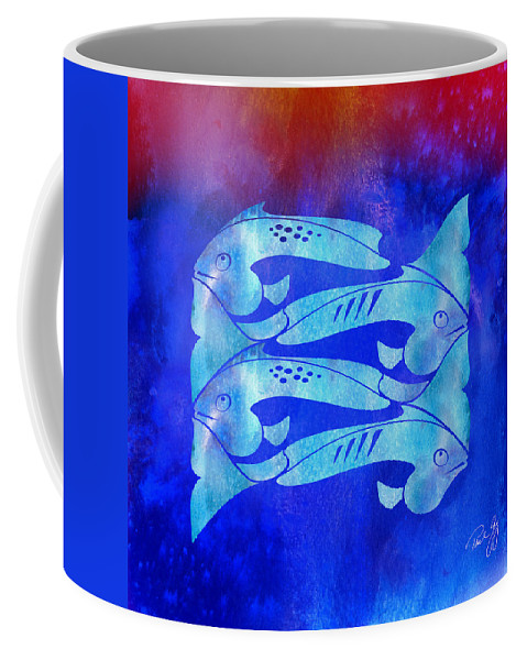 Fish Coffee Mug featuring the mixed media 1 Fish 2 Fish by Paul Gaj