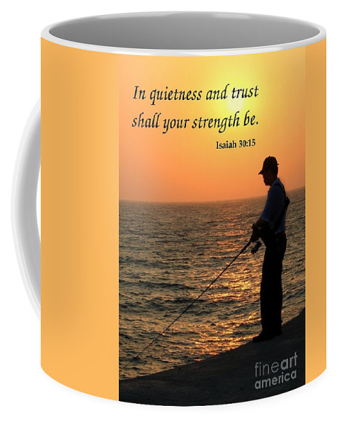Peace Coffee Mug featuring the photograph Fisherman And Sunset by Yali Shi